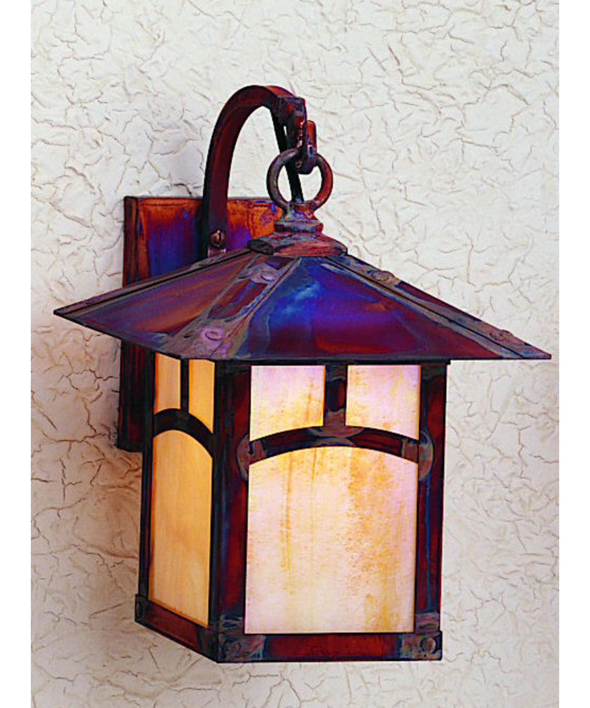 shown in raw copper fnish with gold white iridescent glass and classic arch accent arroyo craftsman lighting