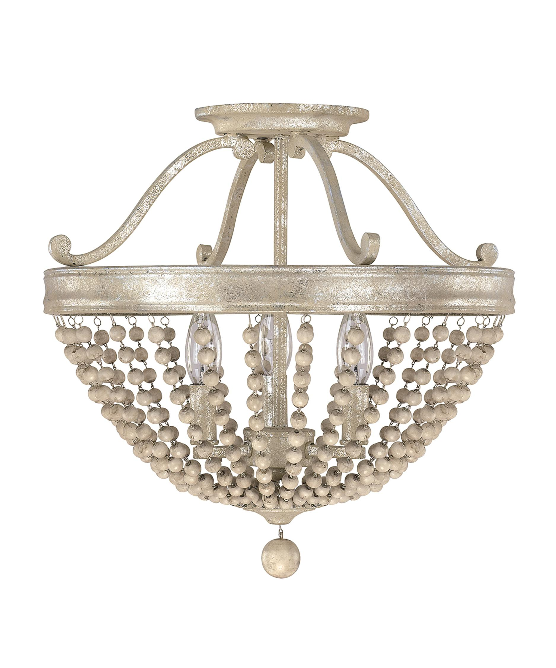 shown in silver quartz finish and wood beads accent - Semi Flush Mount Lighting