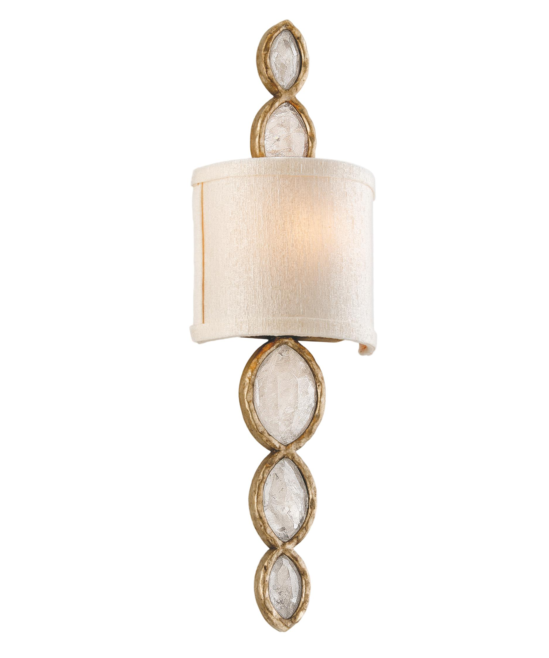shown in brazilian silver leaf finish brazilian rock crystals crystal and hardback ivory ice shade - Corbett Lighting