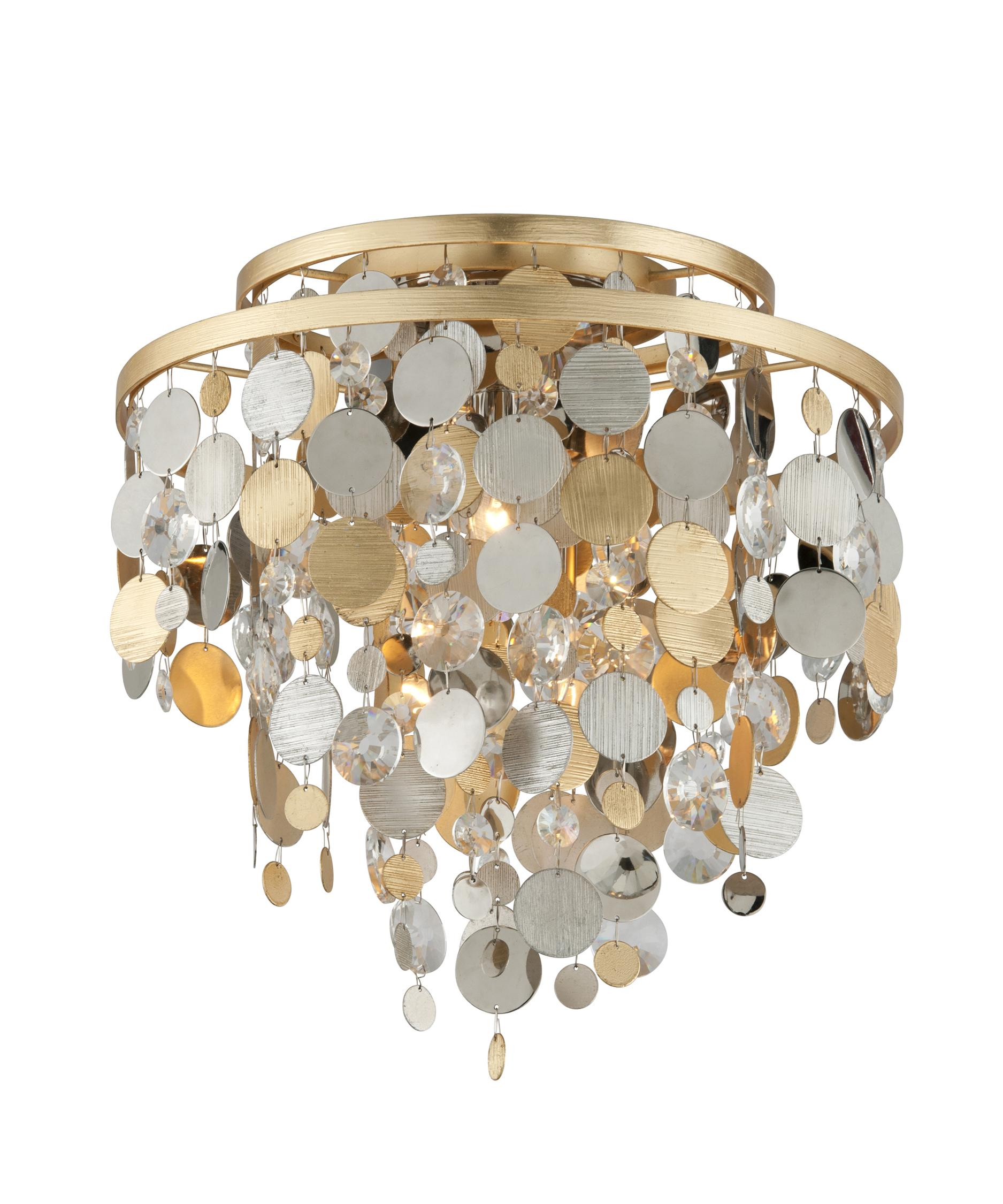 shown in gold and silver leaf finish and gold silver leaf clear accent - Corbett Lighting