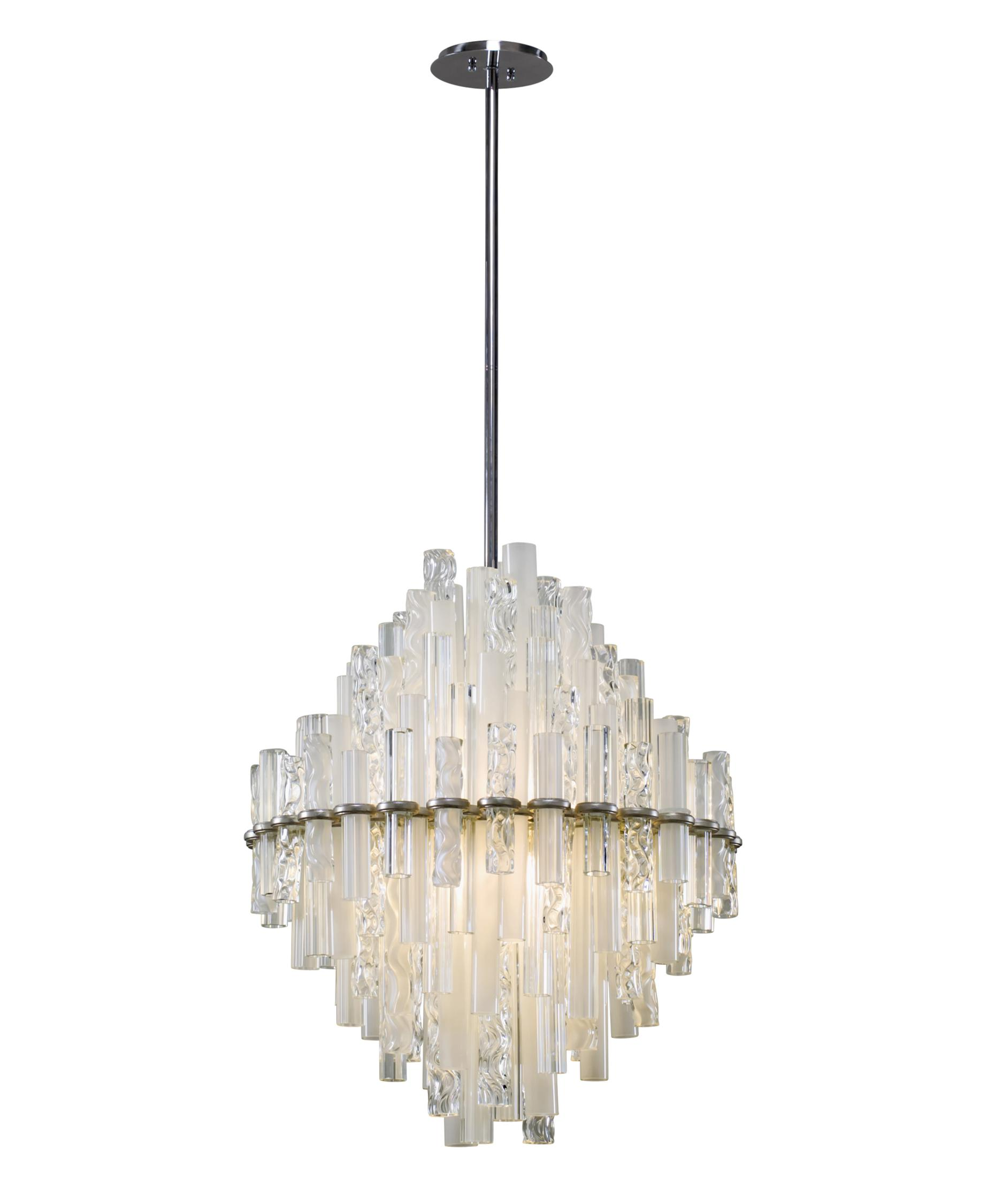 shown in satin silver leaf finish and clear and frosted glass - Corbett Lighting