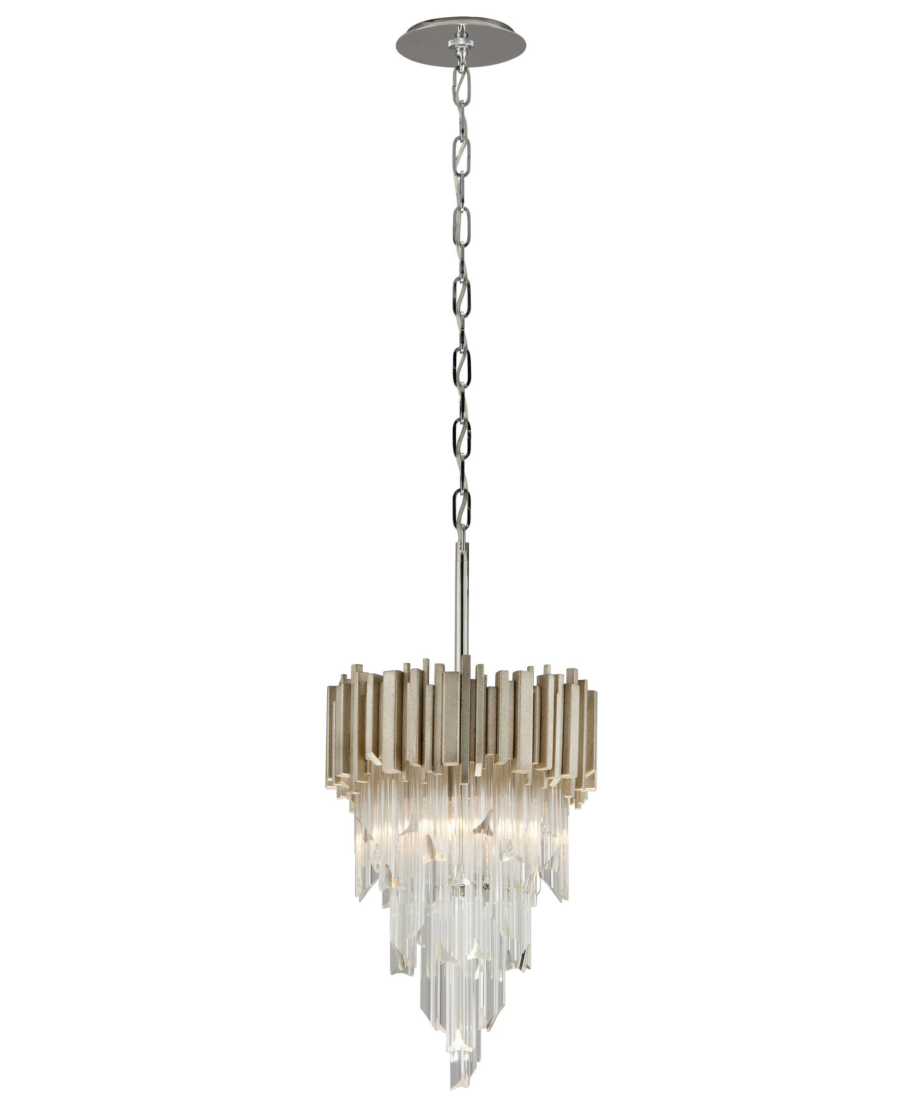 shown in modern silver leaf finish and clear glass - Corbett Lighting