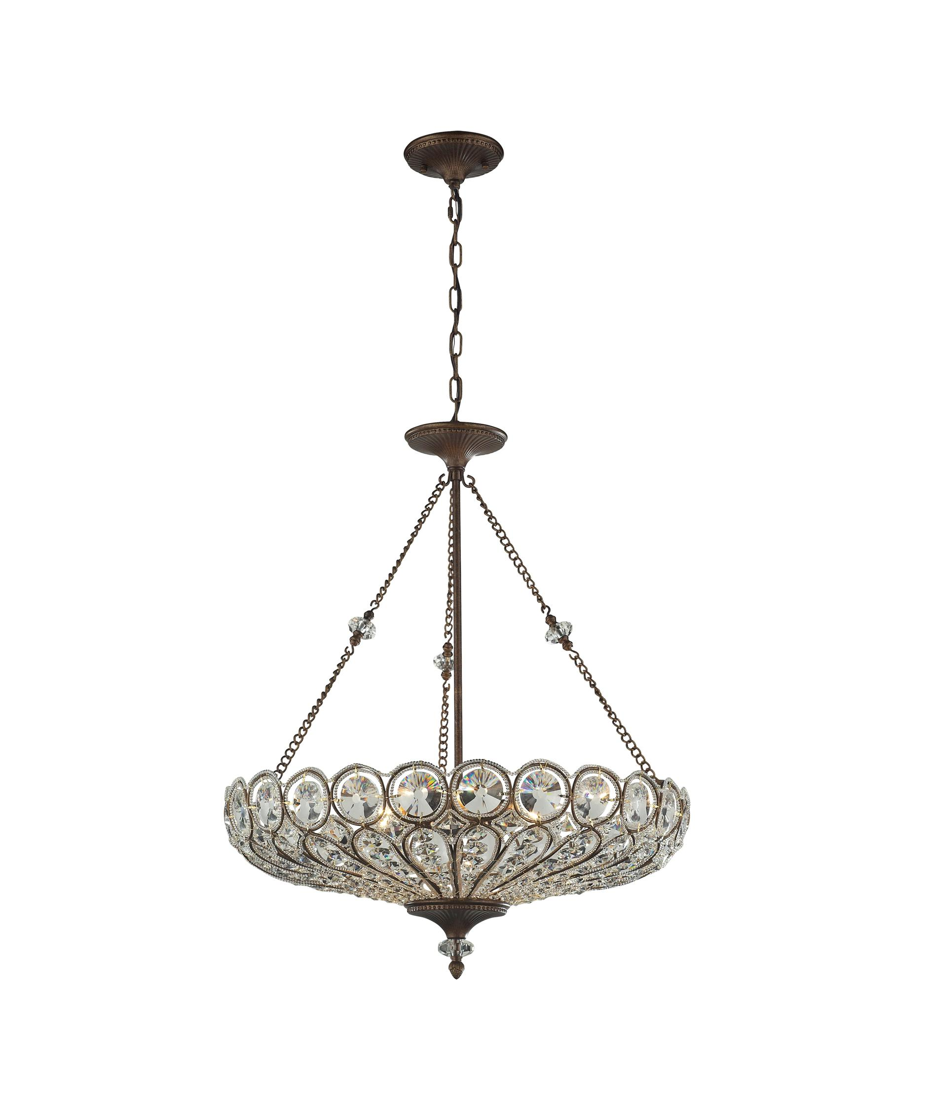 Shown In Mocha Finish And Filigree And Faceted Crystal Glass