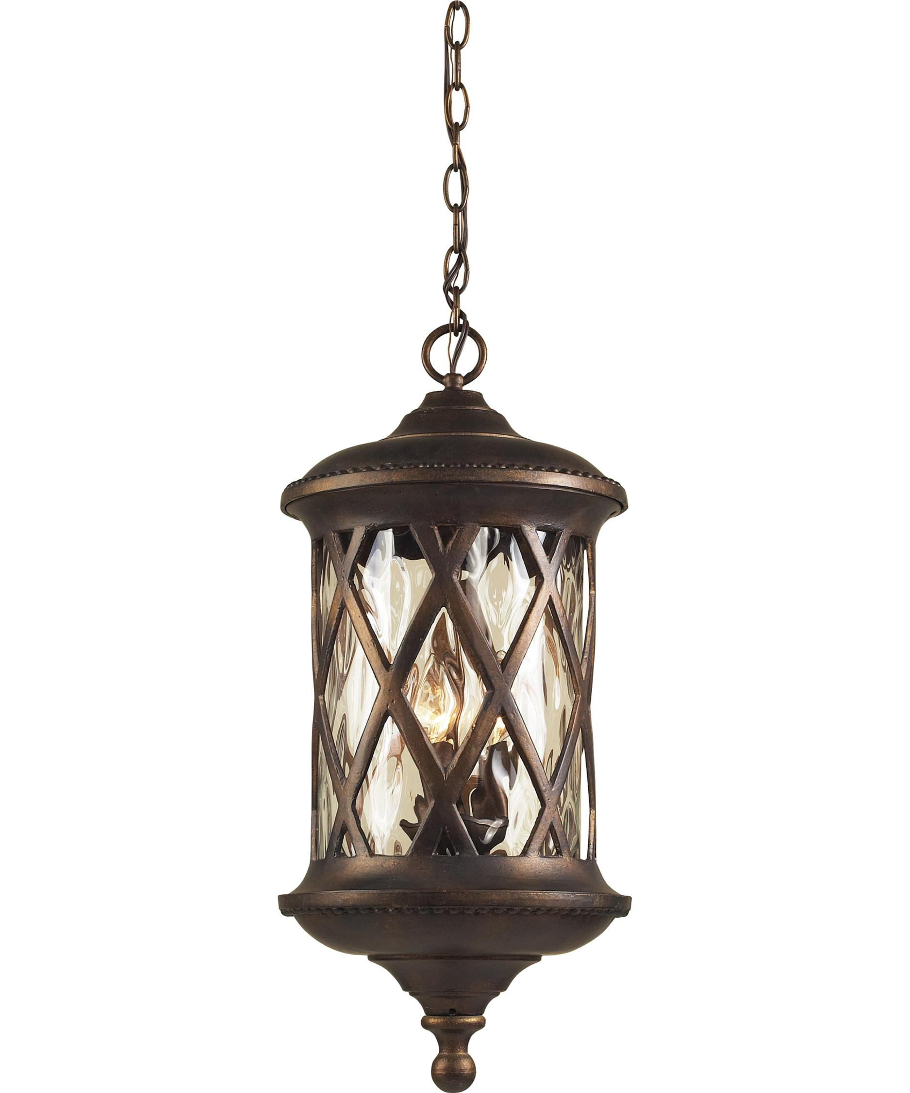 Outdoor hanging lighting - Shown In Hazelnut Bronze Finish And Water Glass