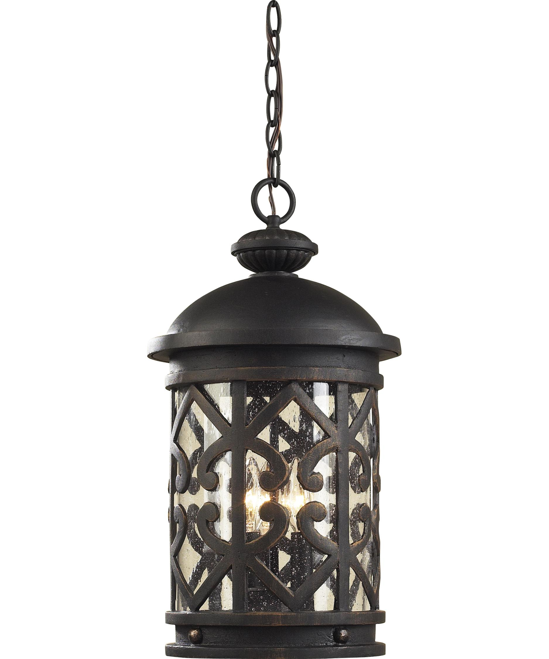 Outdoor hanging lighting - Shown In Weathered Charcoal Finish And Seeded Glass