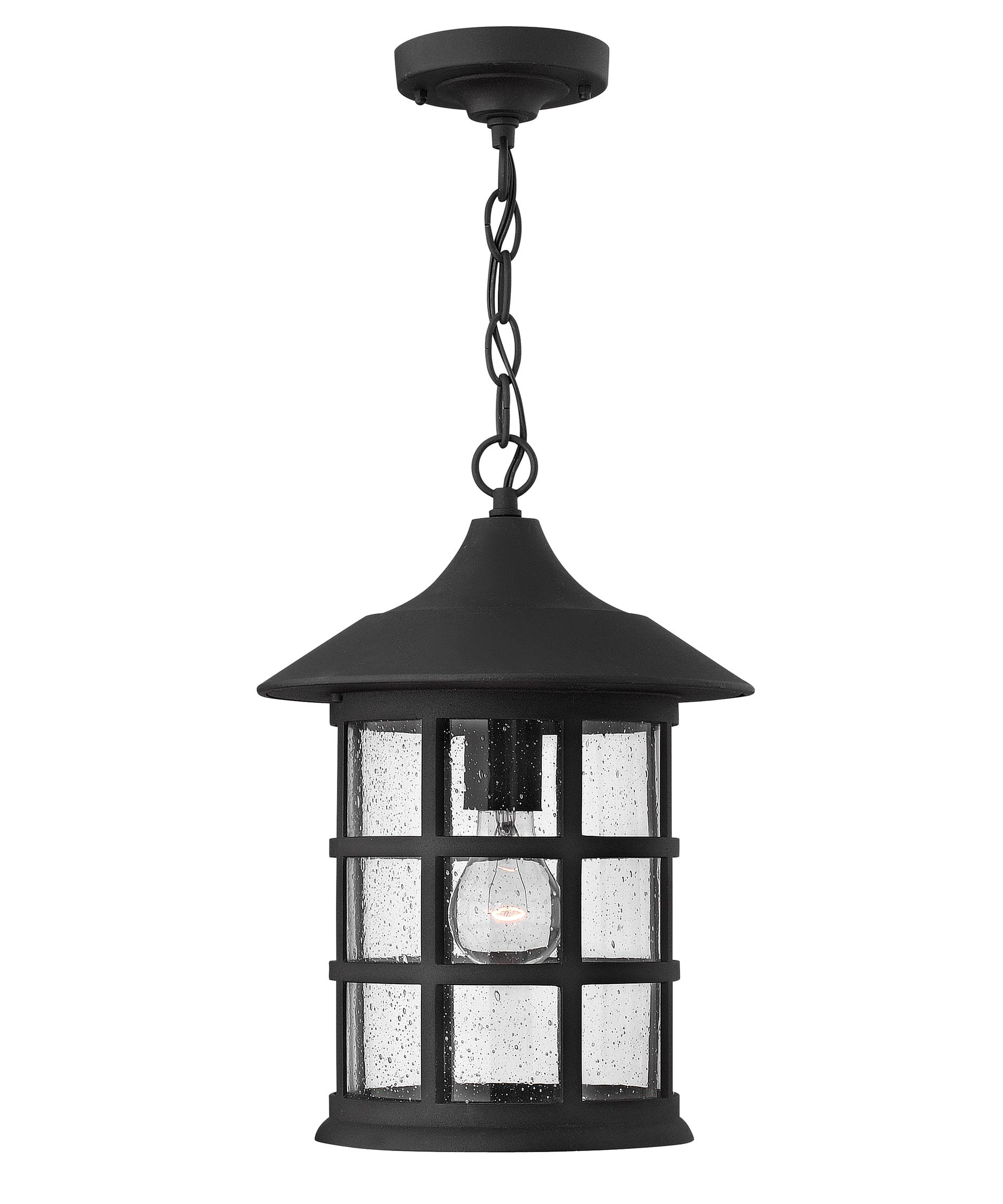 Outdoor hanging lamp - Shown In Black Finish And Clear Seedy Glass