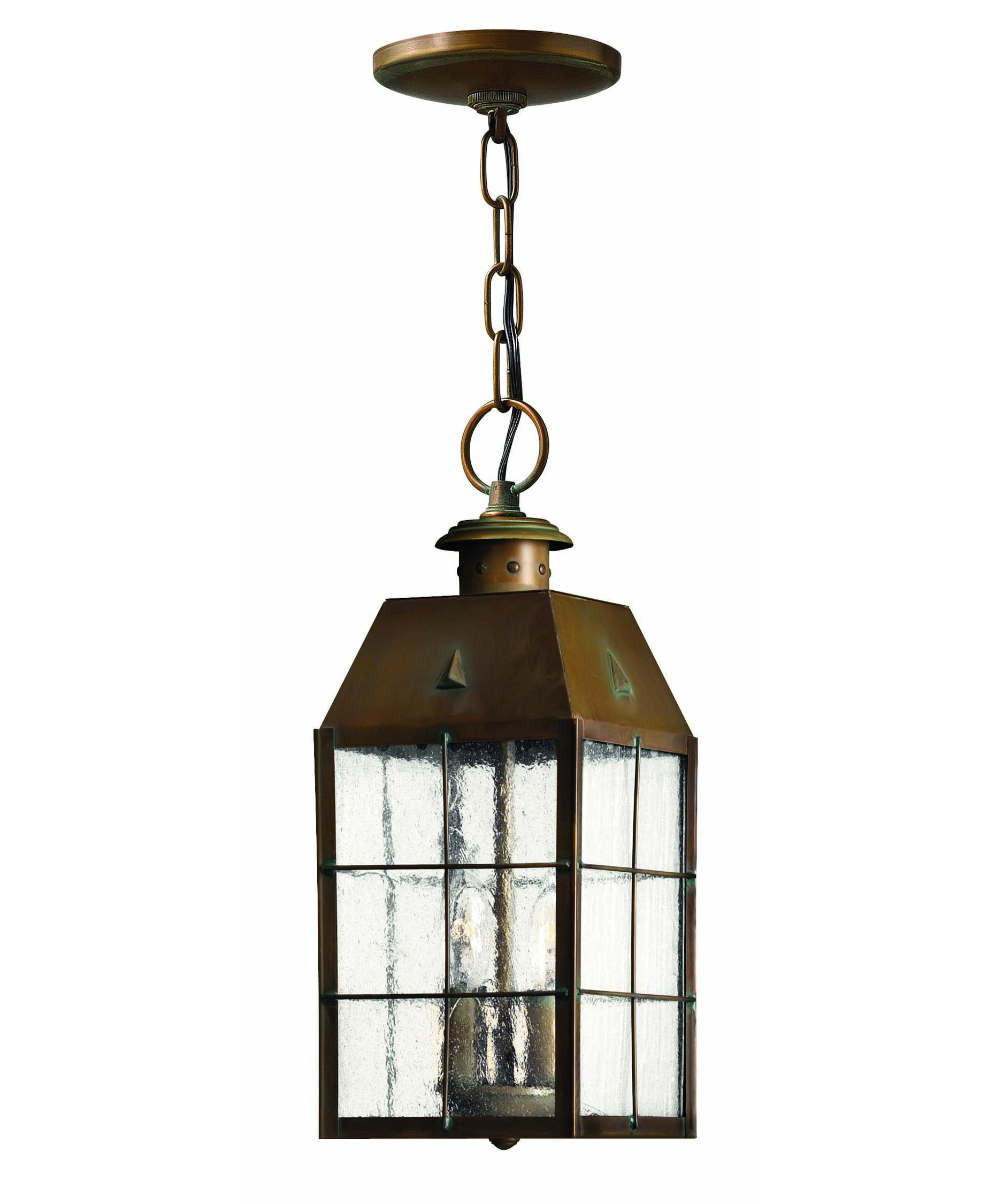 Outdoor hanging lamp - Shown In Aged Brass Finish And Clear Seedy Glass