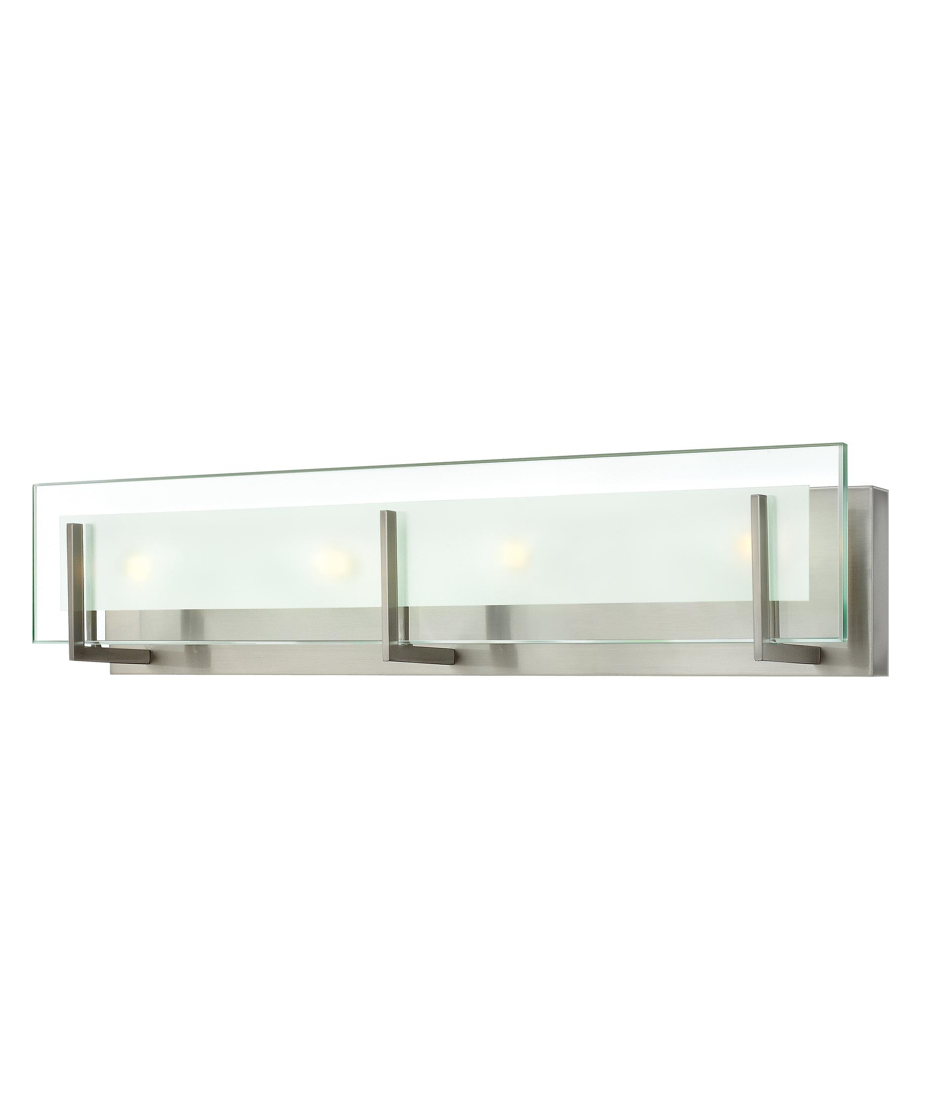 shown in brushed nickel finish and clear beveled inside etched glass bathroom vanity lighting 1