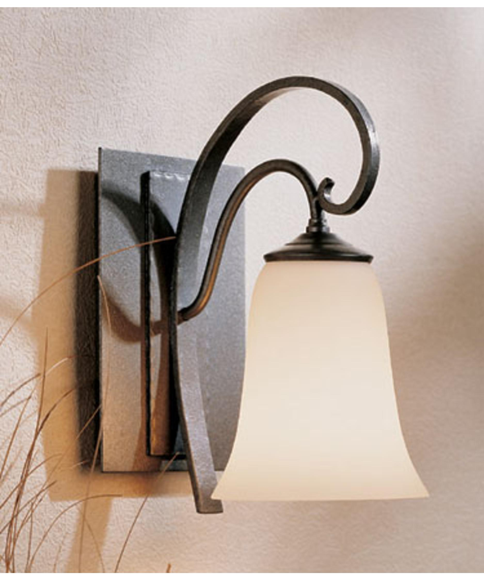 shown in natural iron finish with opal glass - Hubbardton Forge
