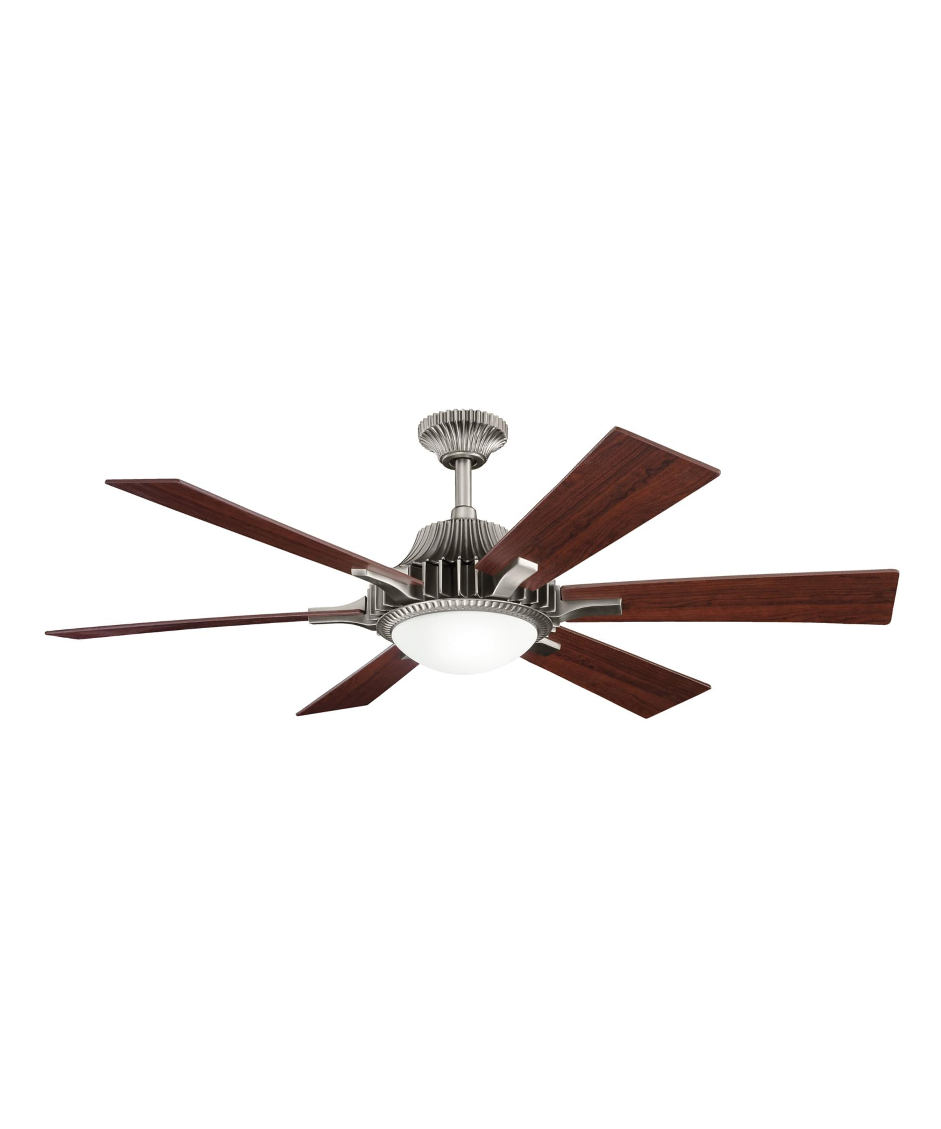 shown in antique pewter finish and etched cased opal glass - Kichler Fans