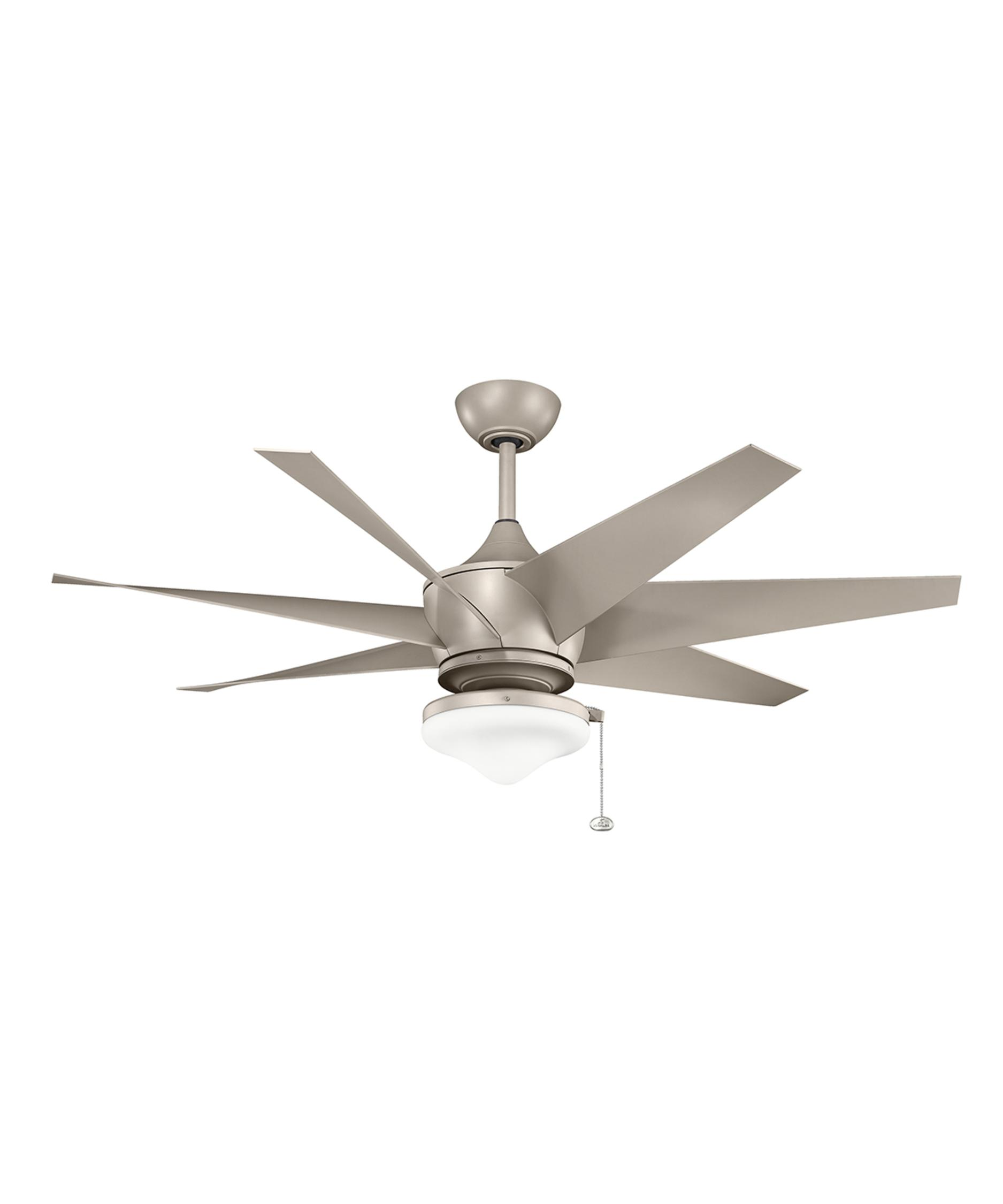 7 Blade Ceiling Fan: Shown in Antique Satin Silver finish,Lighting