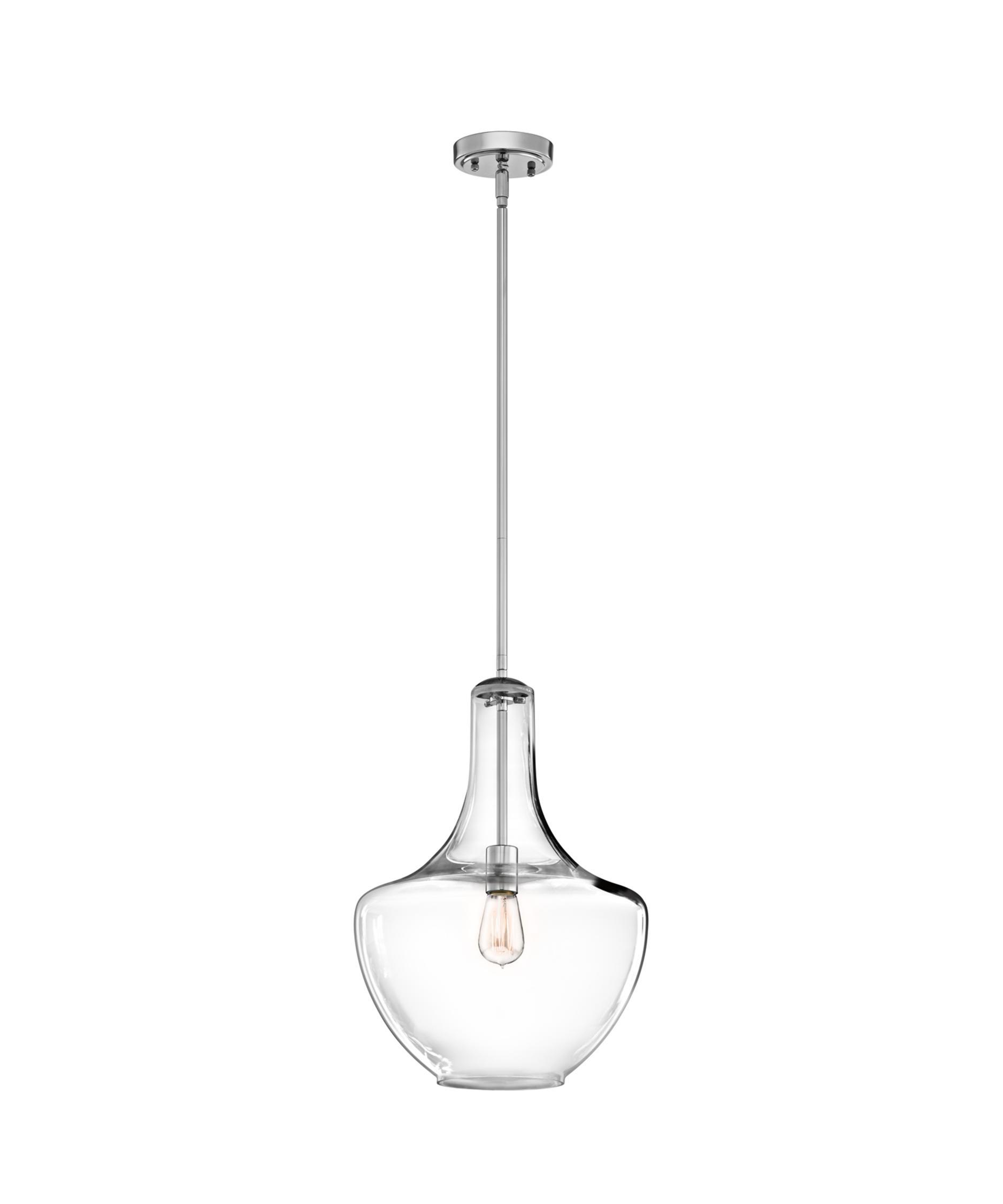 kichler everly 14 inch wide 1 light mini pendant capitol lighting - Brushed Nickel Pendant Light