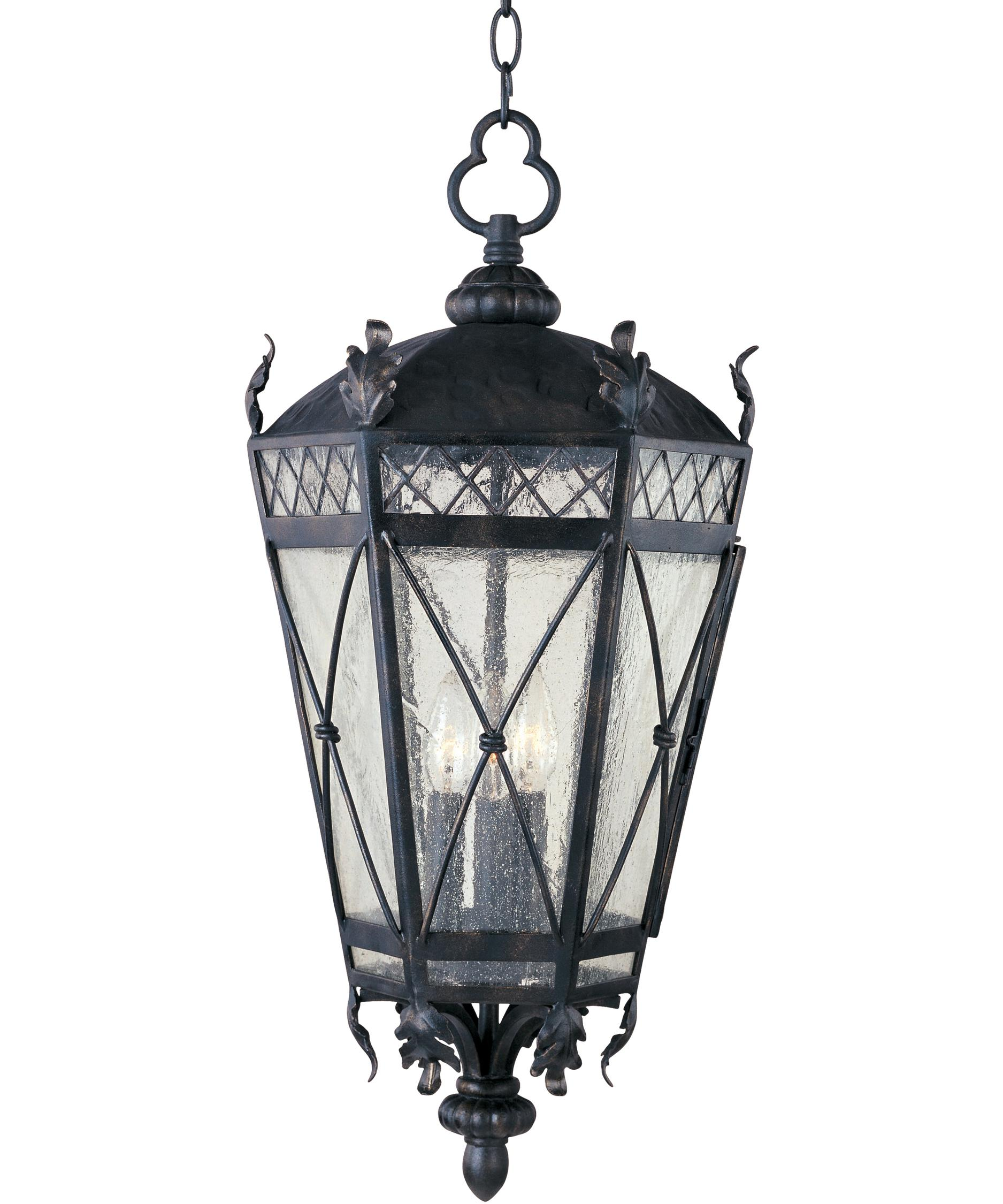 Outdoor hanging lighting - Shown In Artesian Bronze Finish And Seedy Glass