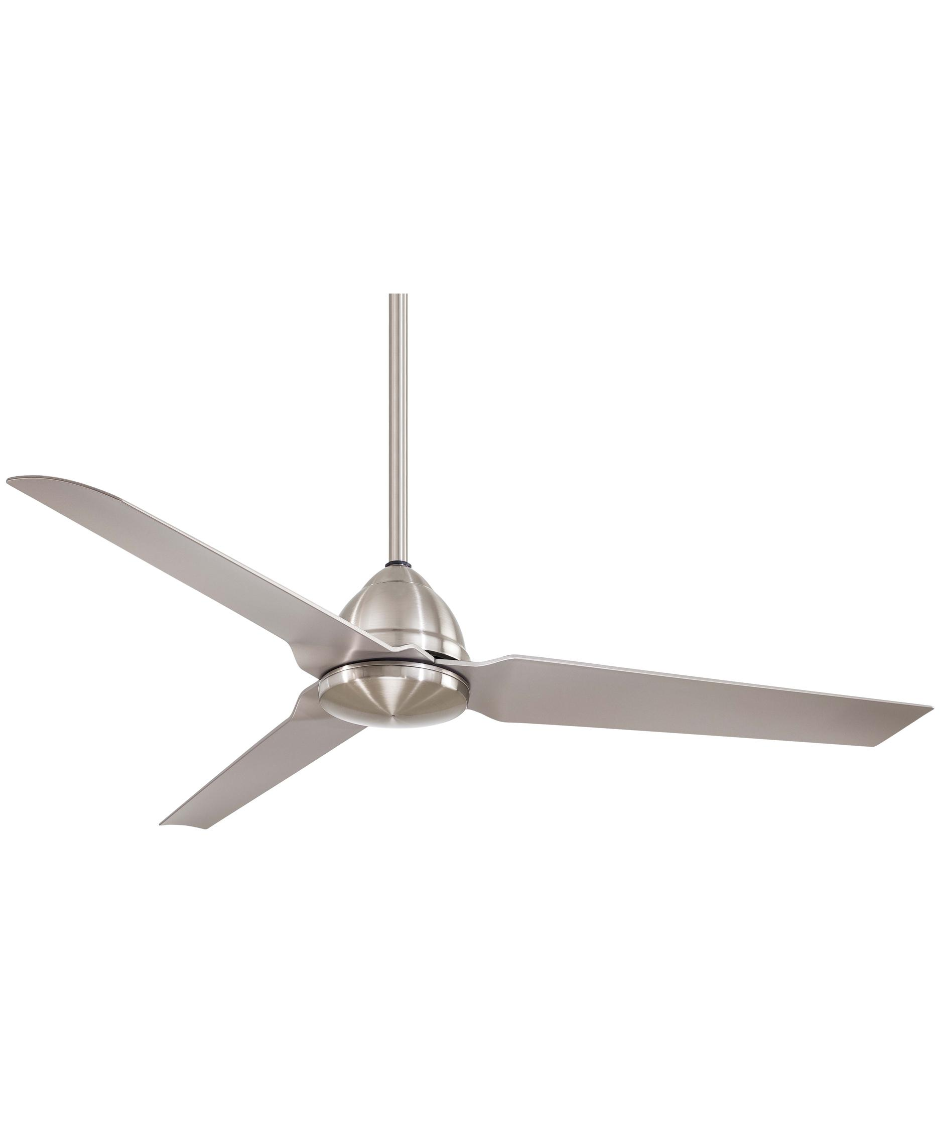 minka aire f java  inch  blade ceiling fan  capitol  - shown in brushed nickel finish
