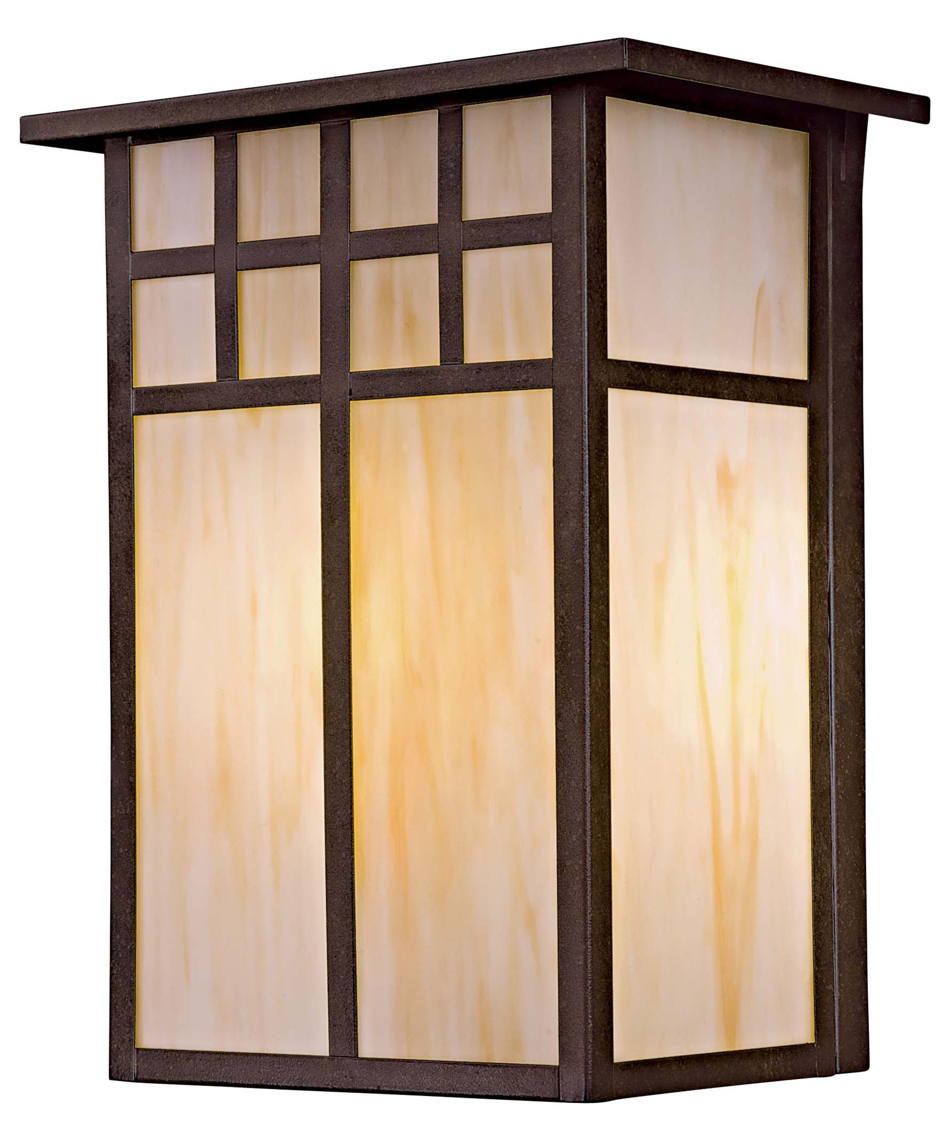 Shown In Textured French Bronze Finish And Honey Opal Art Glass