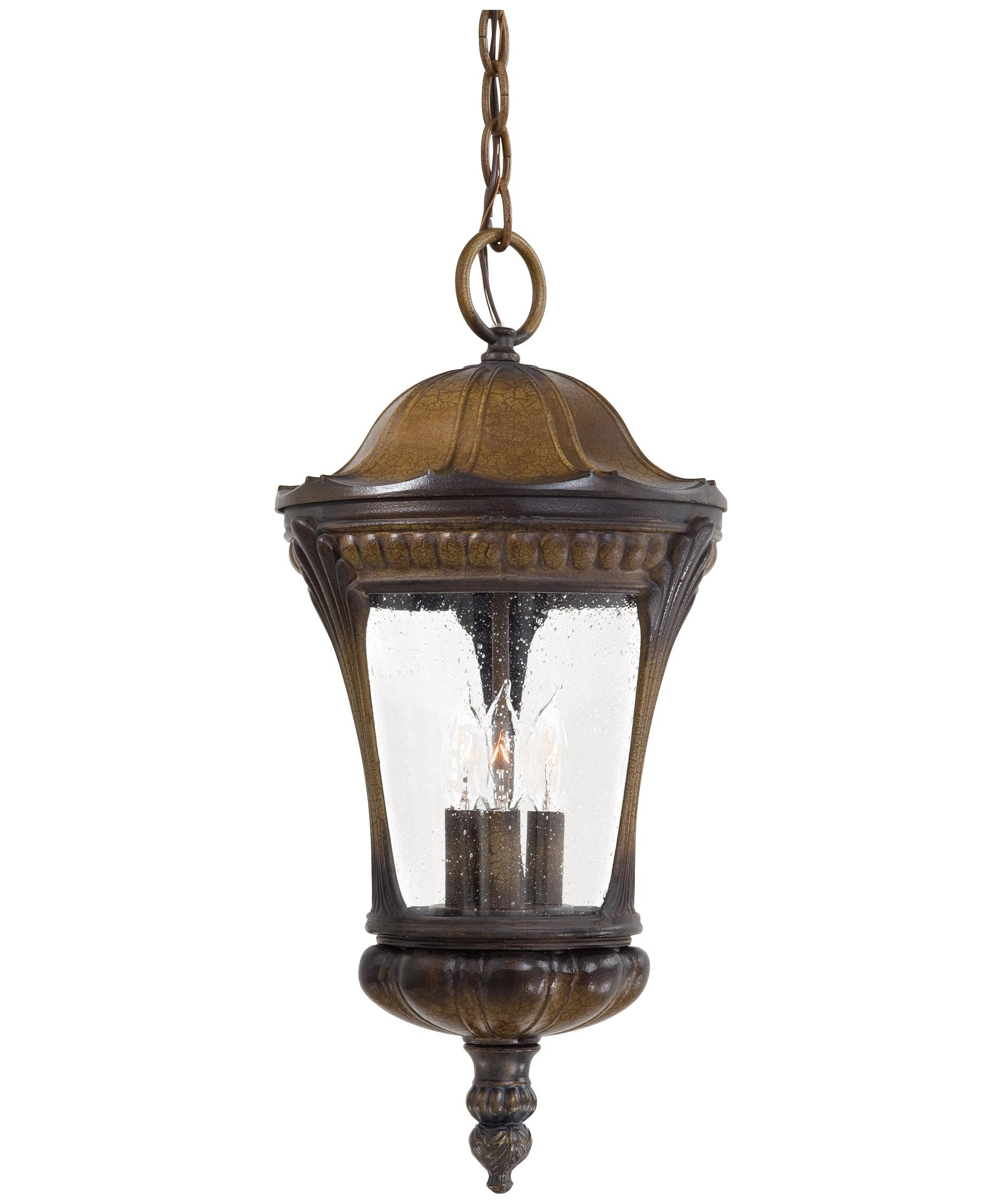 Outdoor hanging lamp - Shown In Prussian Gold Finish And Clear Seeded Glass