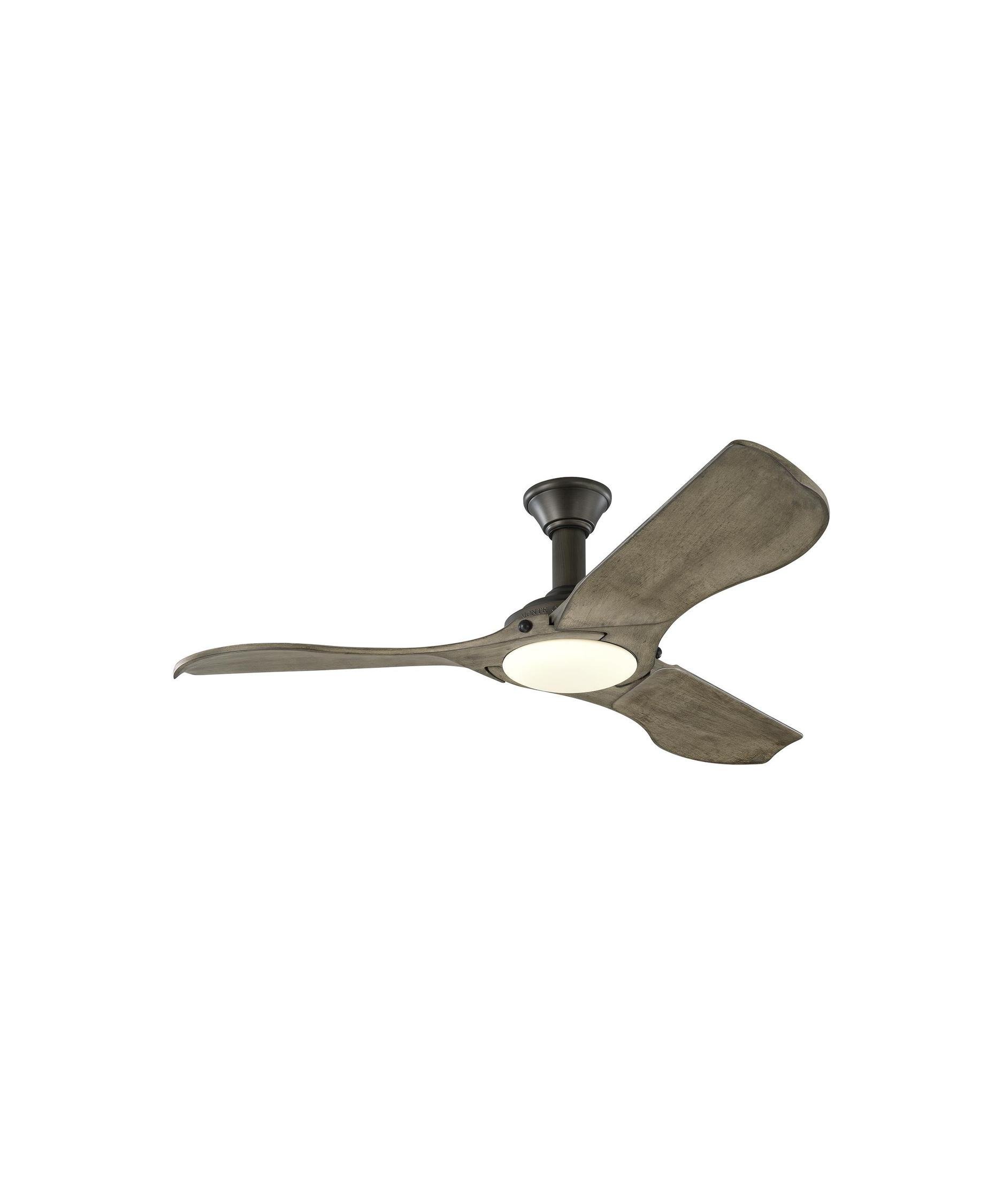 monte carlo mnlr minimalist  inch  blade ceiling fan  - shown in light grey weathered oak finish and opal etched glass