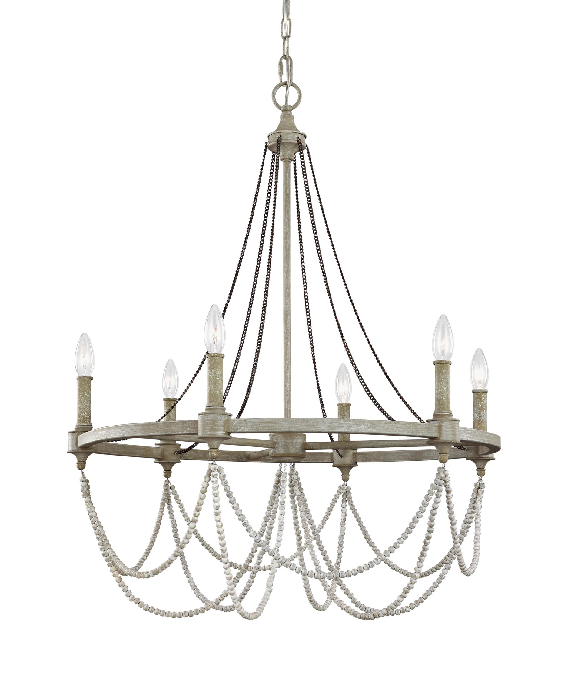 shown in french washed oak distressed white wood finish - Feiss Lighting