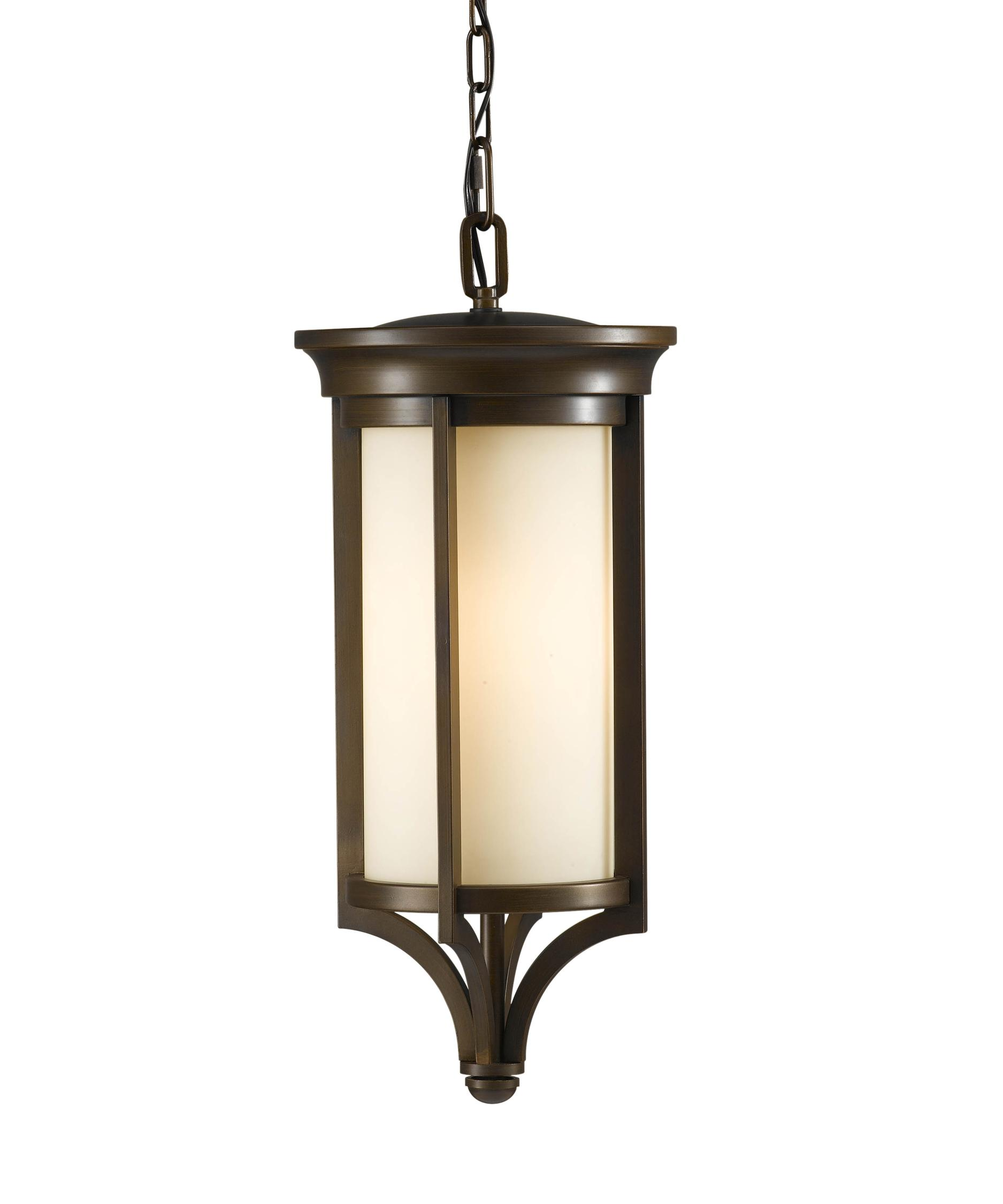 Outdoor hanging lighting - Shown In Heritage Bronze Finish And Cream Etched Glass