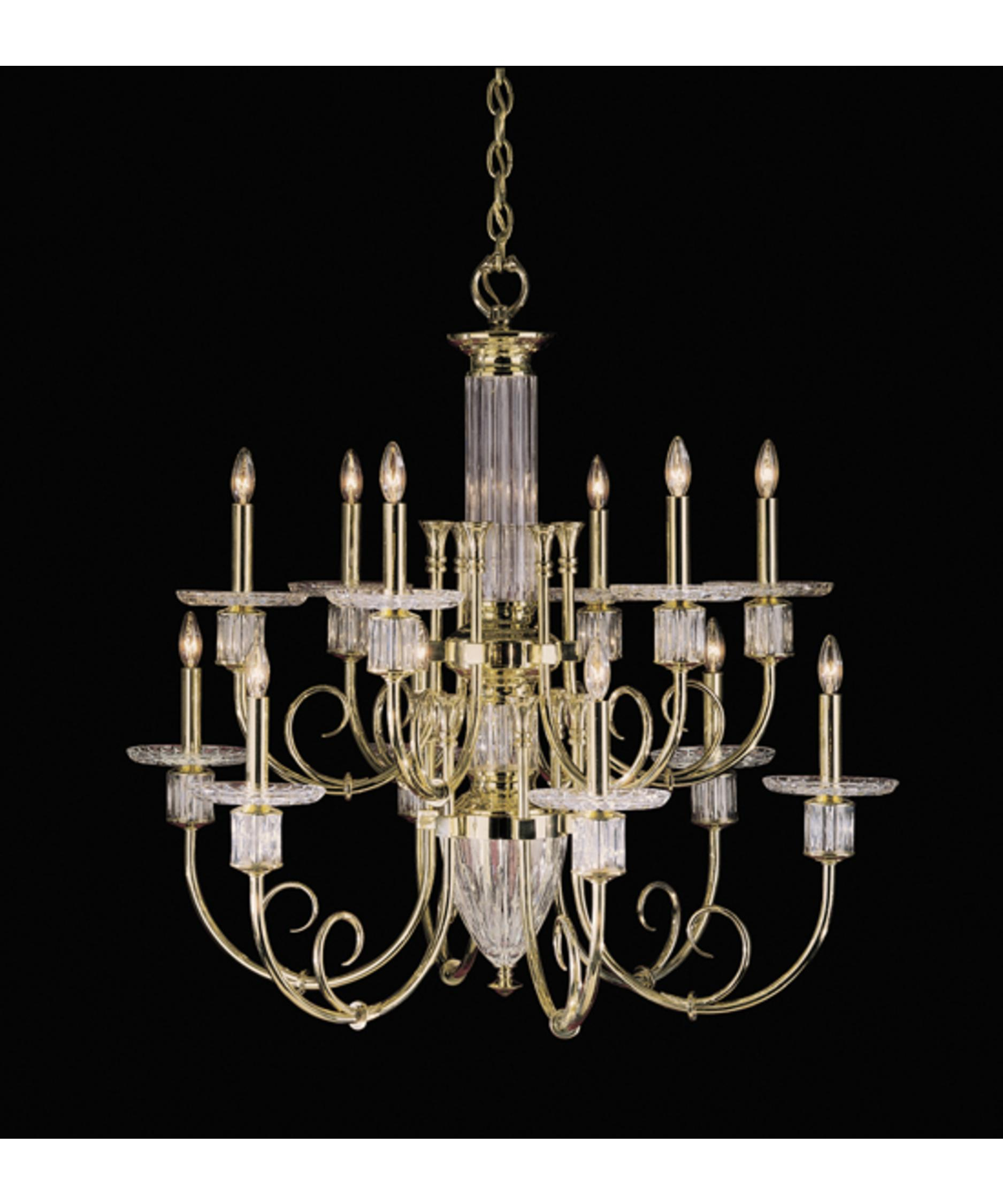 nulco lighting  sherwood  inch wide  light chandelier  - shown in polished brass