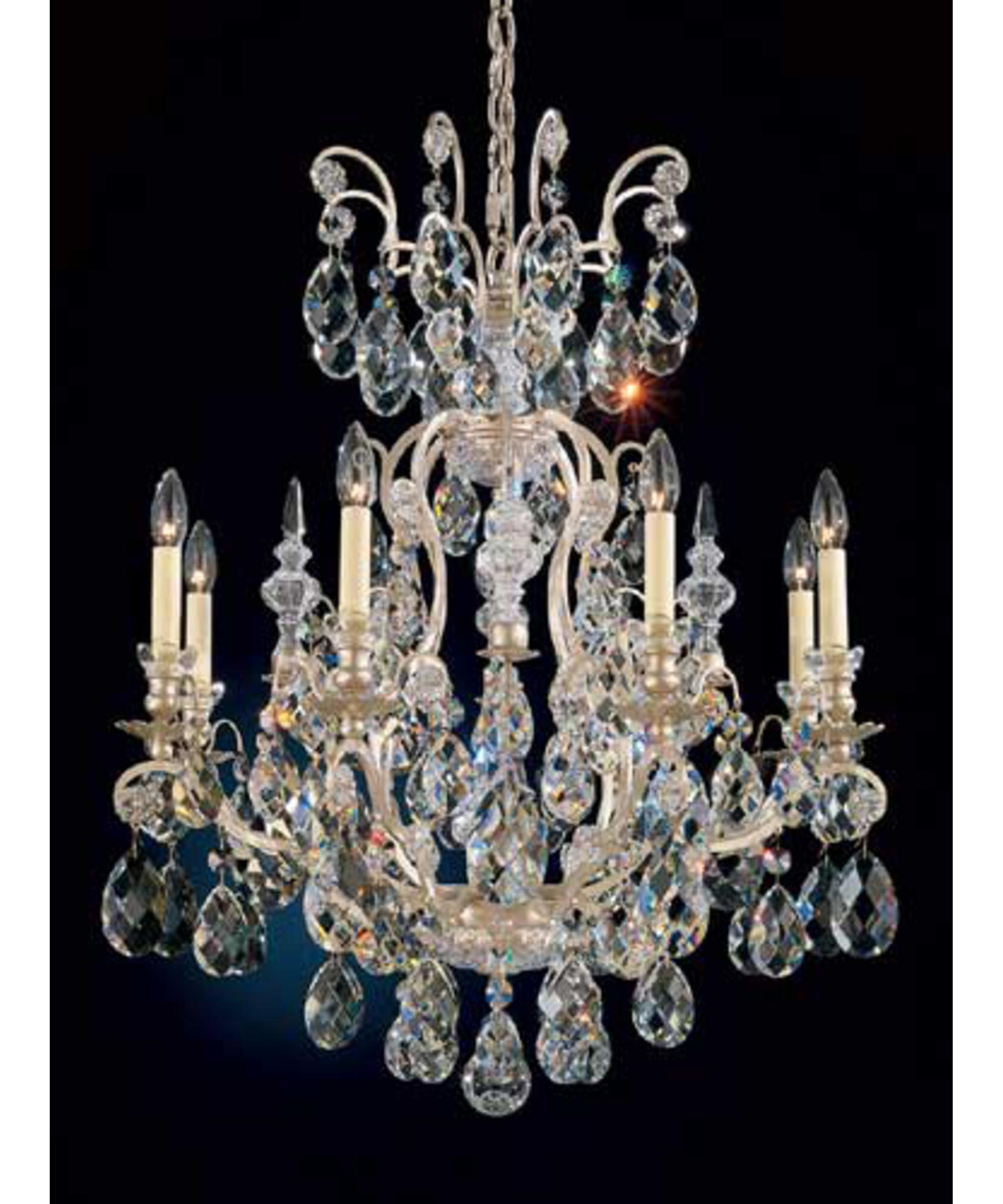 shown in antique silver finish and clear heritage handcut crystal - Schonbek Lighting