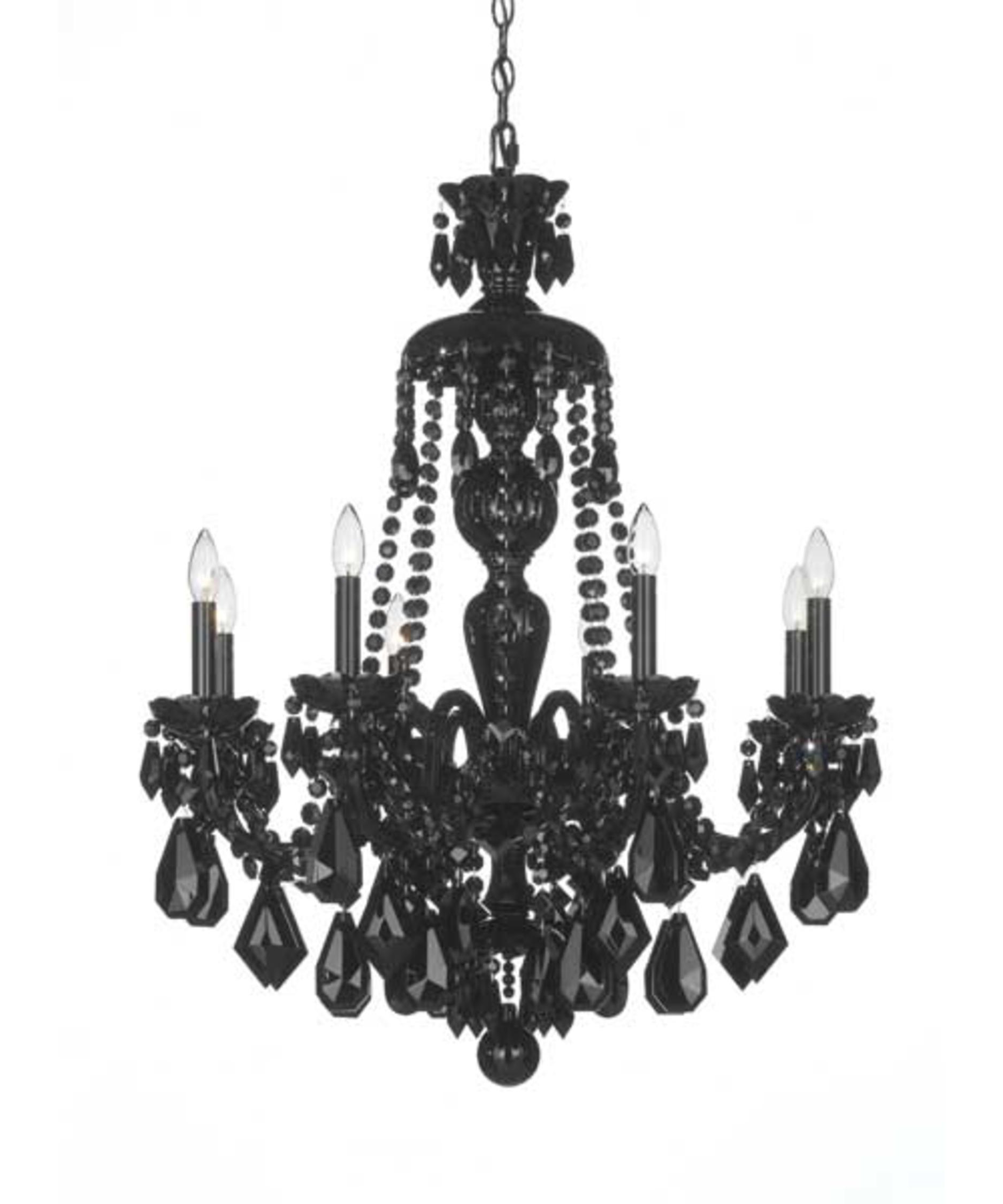 Schonbek 5737BK Hamilton Black 28 Inch Wide 8 Light Chandelier