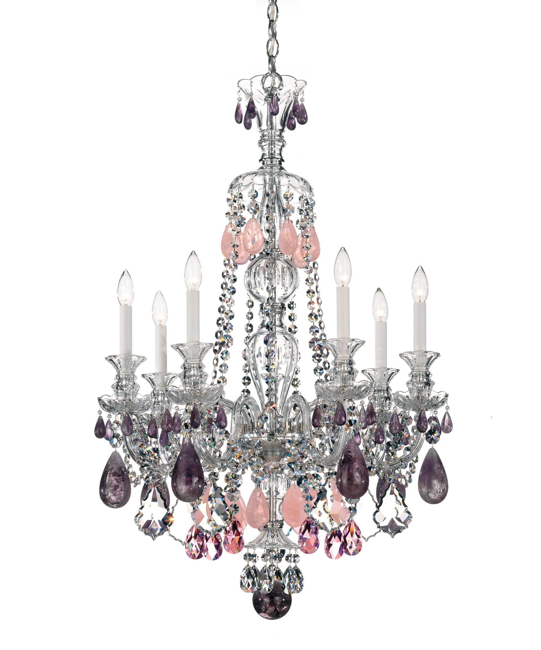 shown in silver finish and amethyst rock crystal crystal - Schonbek Chandelier