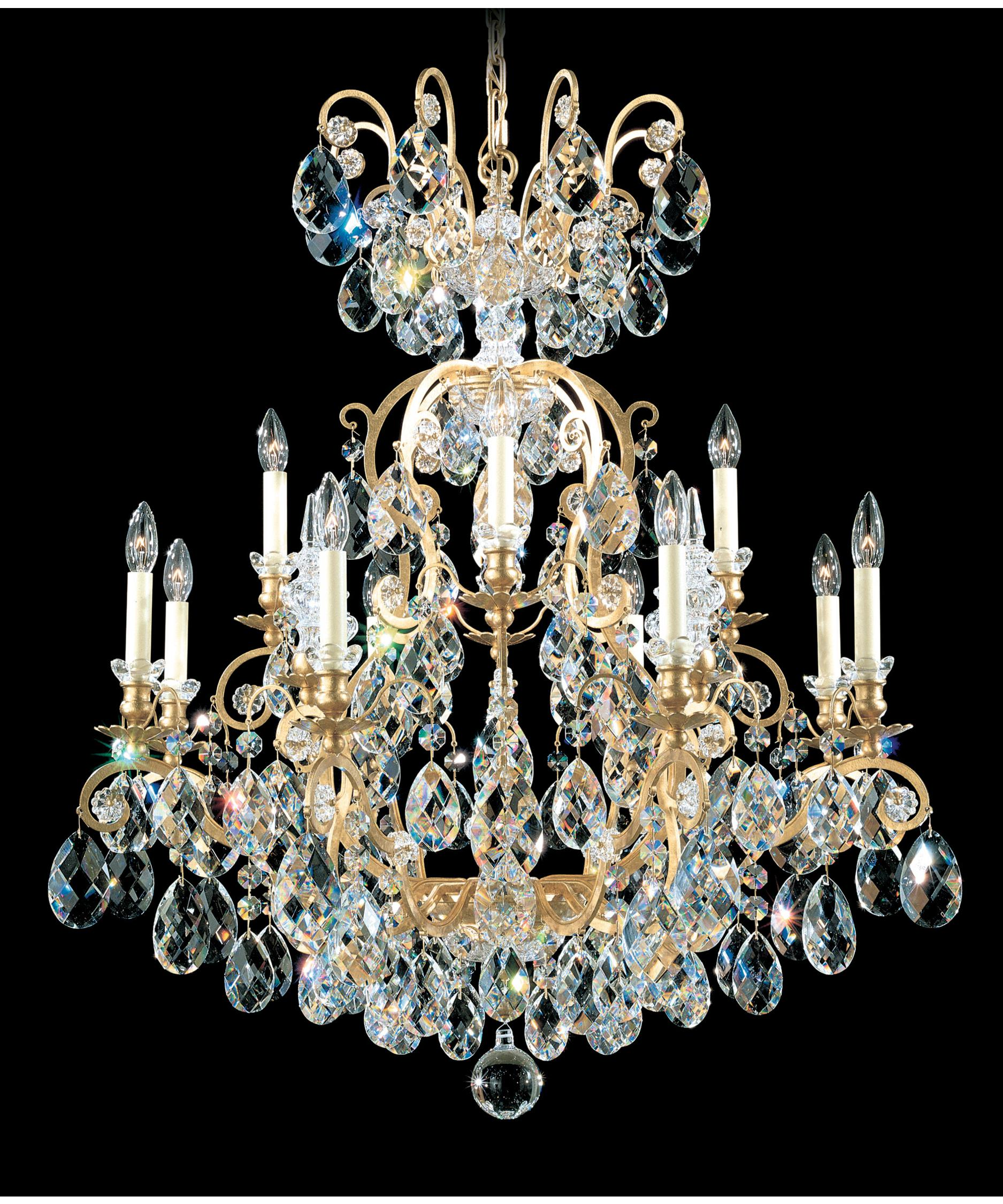 shown in heirloom gold finish and clear heritage handcut crystal - Schonbek Chandelier