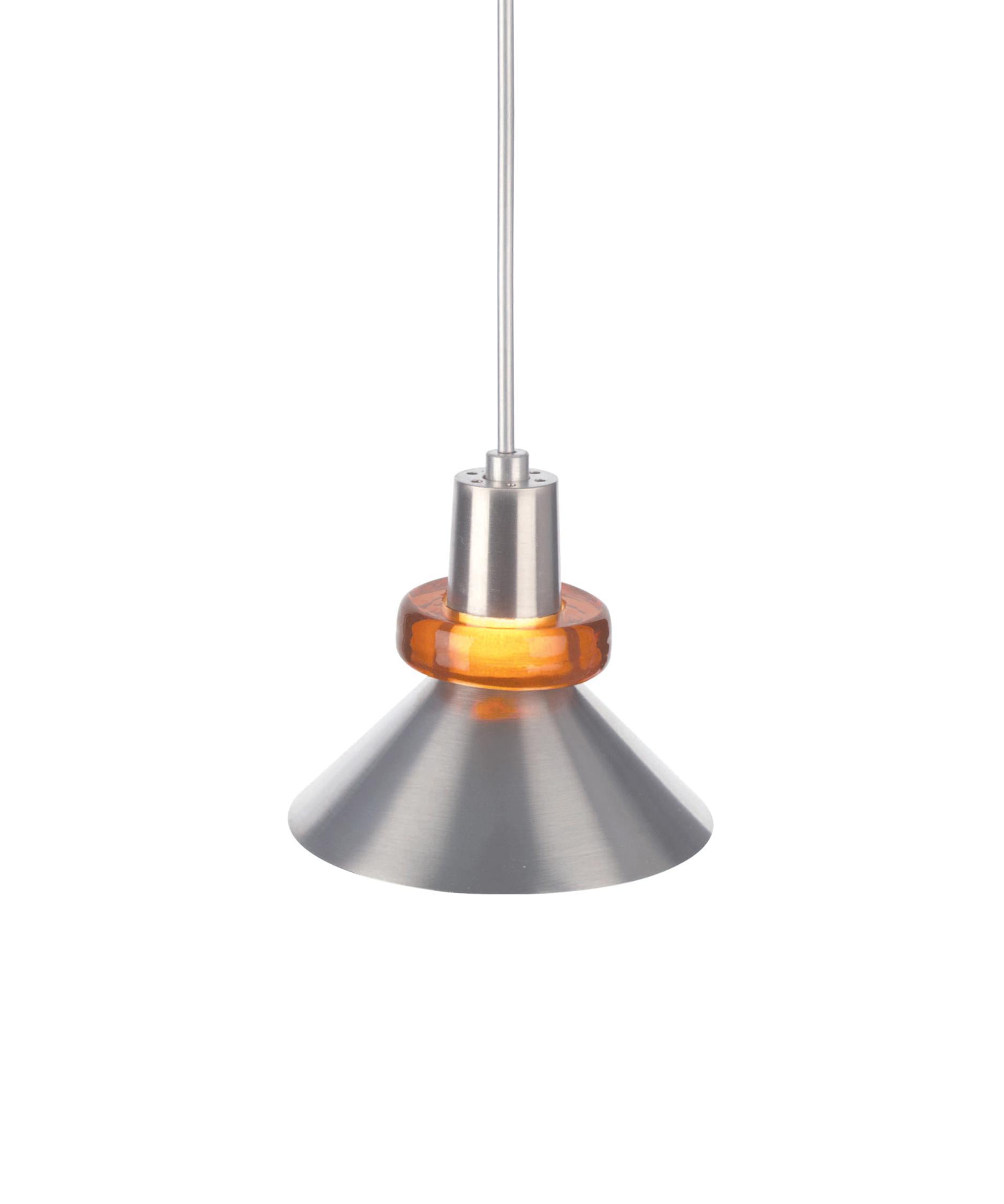 modern mini pendant lighting. shown in chrome finish and amber glass modern mini pendant lighting p