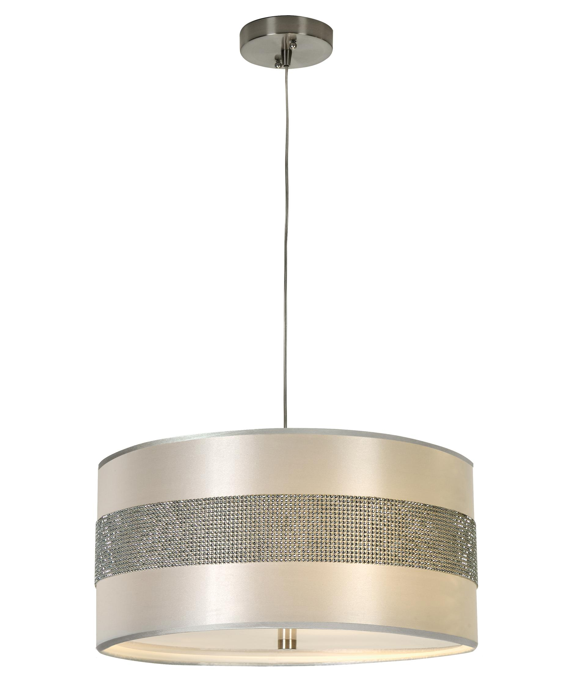 trend lighting bp harmony  inch wide  light large pendant  - shown in metallic silver finish and crystal beaded silver sheen shade