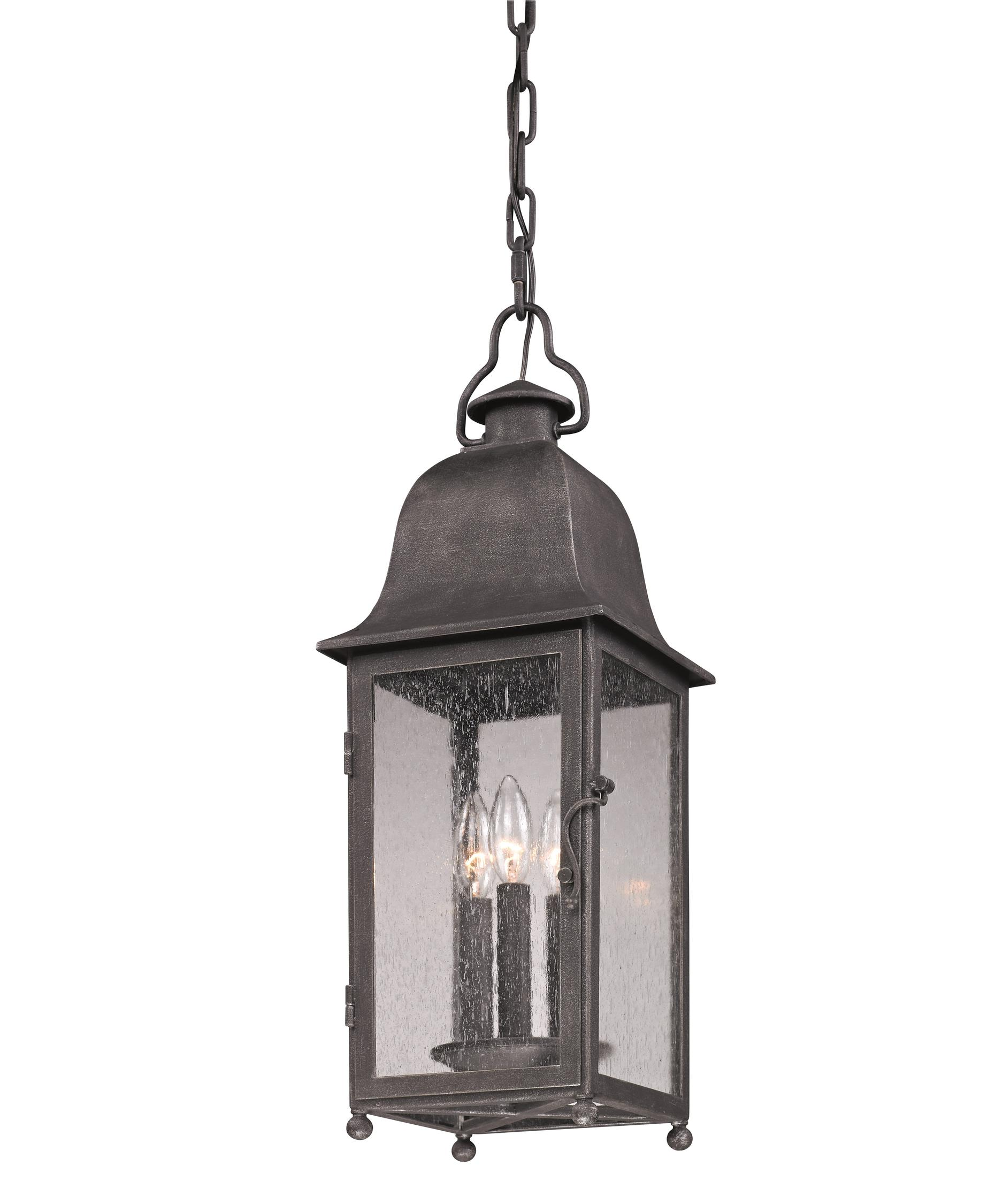Outdoor hanging lamp - Shown In Aged Pewter Finish And Clear Seeded Glass