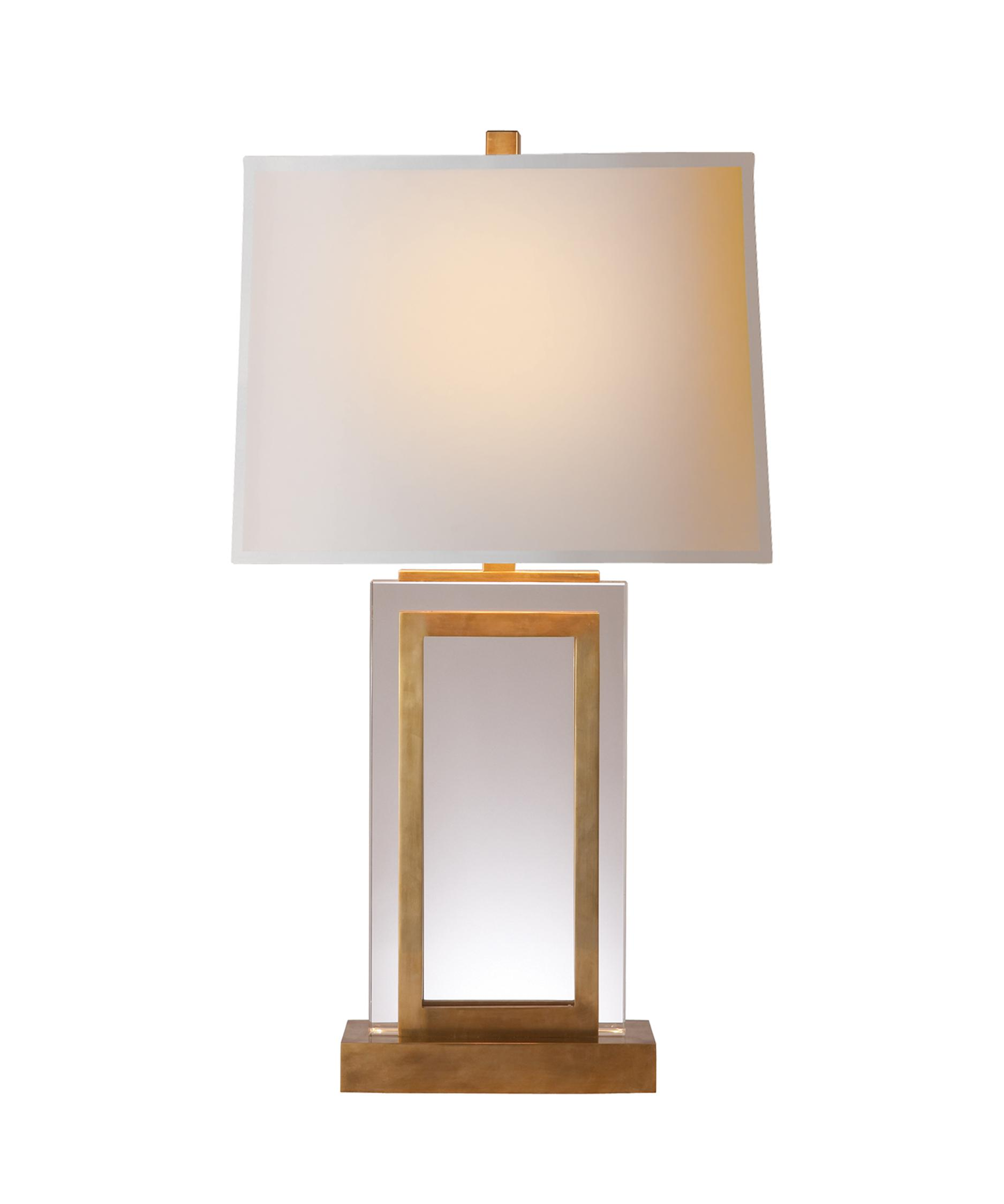 Shown In Antique Burnished Brass Finish And Natural Paper Rectangle Shade