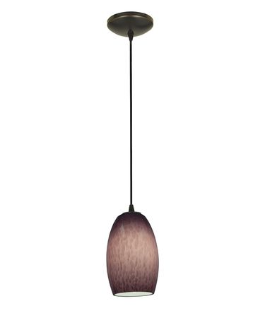 Shown in Oil Rubbed Bronze finish and Plum Cloud glass