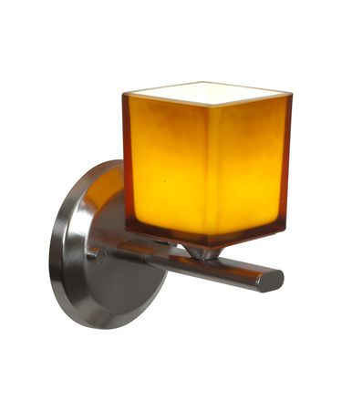 Shown in Brushed Steel finish and Amber glass