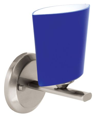 Shown in Brushed Steel finish and Cobalt Blue glass