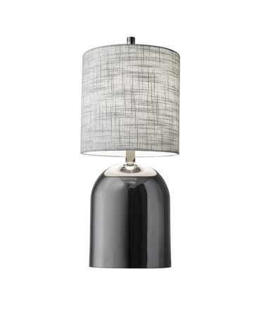 Shown in Black Nickel finish and Grey Textured Fabric shade