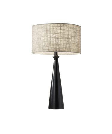 Shown in Black finish and Light Yellow/Brown Textured Fabric shade
