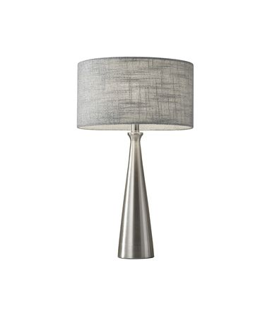 Shown in Brushed Steel finish and Light Grey Textured Fabric shade