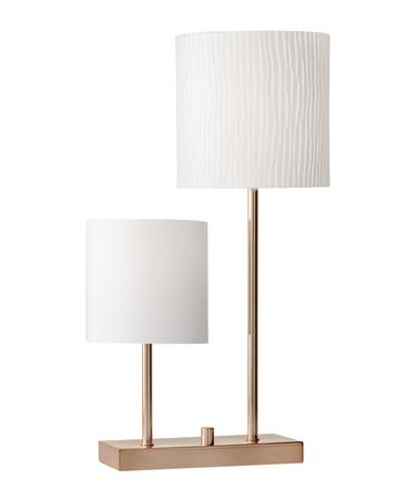 Shown in Brushed Copper finish and White Linen-White Striped Fabric shade