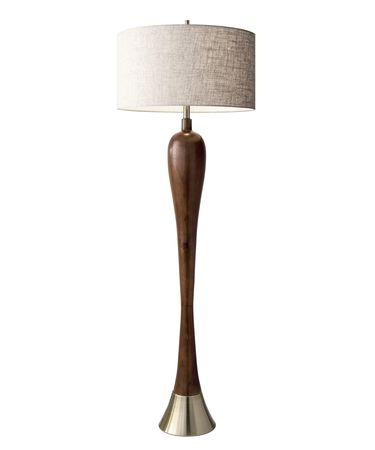 Shown in Walnut Poplar Wood-Antique Brass finish and Oatmeal Linen Fabric shade