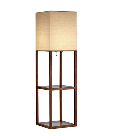 Shown in Solid Bamboo finish and Off-White Fabric shade