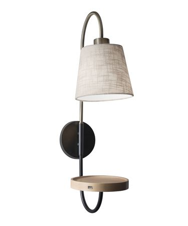 Shown in Black-Antique Brass finish and Textured Off-White Linen shade