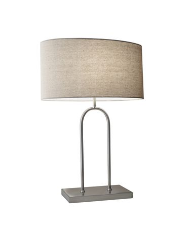 Shown in Brushed Steel finish and Oatmeal Linen Fabric shade