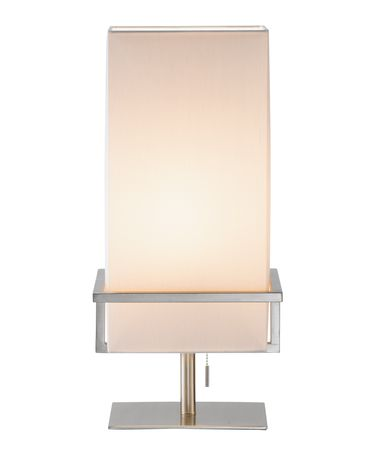 Shown in Satin Steel finish and White shade