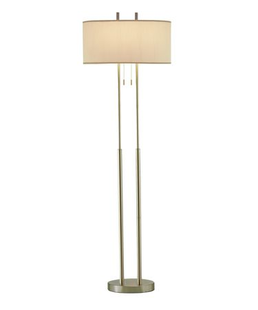 Shown in Satin Steel finish and Ivory Silk shade