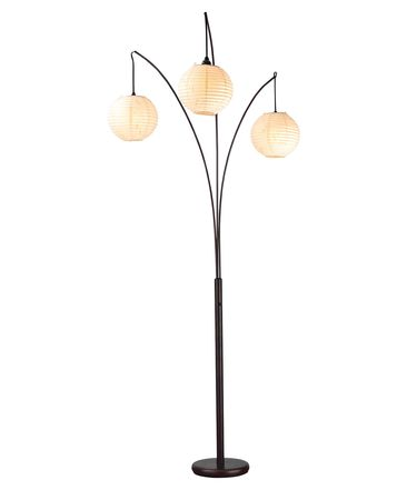 Shown in Antique Bronze finish and Round Rice Paper shade