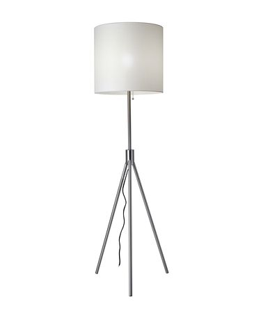 Shown in Brushed Steel finish and White Paris Linen shade