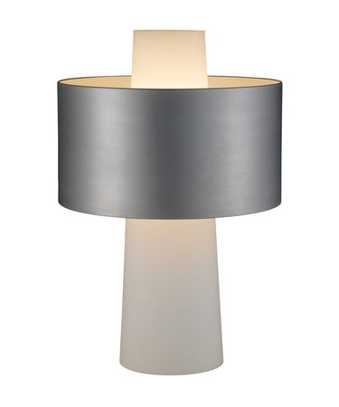 Shown in Steel finish, Frosted glass and Metal shade