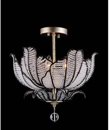 Shown in Silver Leaf finish and Firenze Clear crystal
