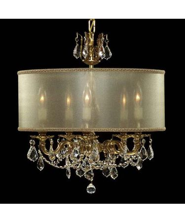 Shown in Polished Brass with Umber Inlay finish with Clear Precision Pendalogue crystal and Crystal Frost shade